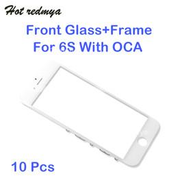 iphone 6s oca Promotion Pour l'iphone 6S écran tactile avant lentille en verre externe + cadre froid cadre moyen lunette + pièces de rechange OCA