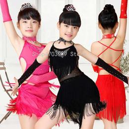 Modèles enfants modèles de filles noires en Ligne-2019 nouveaux modèles Paillettes Frange Bleu Rose Noir Rouge Salsa Robe Enfant Filles Enfants Latin Robes Filles Costumes De Danse Latine
