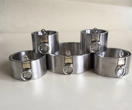 Acciaio del sesso di mano online-Dispositivi di castità in acciaio per impieghi gravosi Bracci di ritenuta per bracciali SM Bondage Steel Fetters Collari per le mani Giocattoli erotici