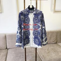 2019 conforto de escritório New Blue print Mulheres Blusa Camisa de Manga Longa Blusa Casual Tops Senhora do escritório estilo Conforto conforto de escritório barato