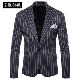 Jaqueta bussiness on-line-ZIOLOMA Mens Blazer Jacket Listra Vertical Slim Fit Bussiness One Button Terno Jaqueta Casual