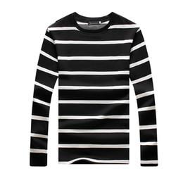 Camisas de diseño de forro online-2019 Nueva Camiseta de Hombre Primavera Verano Línea Diseño de Rayas Camiseta Divertida Homme O-cuello de Manga Larga Casual Hip Hop Camiseta Para Hombre M-5XL