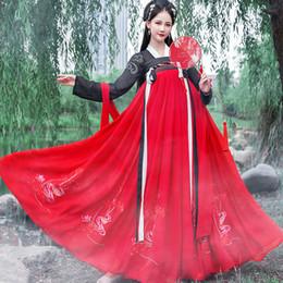Китайский наряд черный онлайн-Hanfu Женщины Фея платье Black Top красный юбка танец костюм Древний китайский костюм Женщины для взрослых фольклорный фестиваль Outfit Hanfu BL1974
