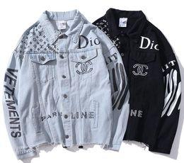 Chaqueta de mezclilla de los hombres de impresión online-2019 denim jacket Europa y los Estados Unidos bordado popular tigre cabeza impresión retro lavado hombres y mujeres camisa de manga larga wholes
