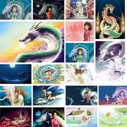 diamond sticker painting Promo Codes - Wall Painting 5d Diamond painting Embroidery Spirited Away Hayao Miyazaki Anime Sticker Picture Home Decor Full Round Drill Cross Stitch