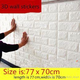 пластиковые мозаичные плитки Скидка Self клей Водонепроницаемые Обои TV фона кирпича 3D стикер стены Гостиная обои Mural Bedroom Декоративные наклейки