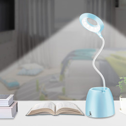Rechargeable small table lamp led children s bedroom bedside lamp creative pen holder touch reading student learning eye protection desk