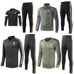 Fußball-pullover online-Juventus Fußball Jacke Trainingsanzug 2018-19 RONALDO DYBALA Jacken Kit Juve Full Zipper Fußball Jacke Sweater Trainingsanzug