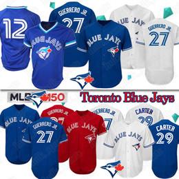 Бейсбол трикотажные изделия торонто онлайн-27 Владимир Герреро Jr Торонто Блю Джейс Джерси 29 Джо Картер 12 Роберто Аломар Бейсбол Джерси