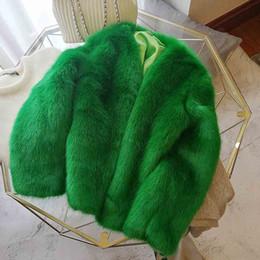 2019 giacca pelosa faux ANSFX Elegante inverno verde con scollo a V Shaggy Hairy Faux pelliccia di volpe Vintage Corea allentato Tenere caldo giacca di pelliccia Femme Outwear Top sconti giacca pelosa faux