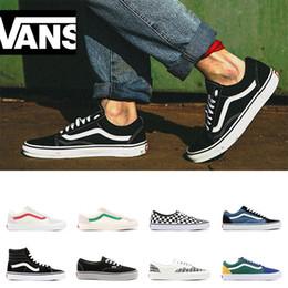 2019 sapatos femininos tamanho 44 Vans old skool tênis originais das sapatilhas das mulheres dos homens de lona branca de moda vermelho sapatos casuais esporte preto tamanho 36-44 sapatos femininos tamanho 44 barato