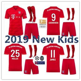 Juventude james jérsei on-line-Kits para Crianças 2019 2020 Camisolas do Bayern de Munique 19 20 LEWANDOWSKI ROBBEN TOLISSO THIAGO Camisola de Futebol em casa JAMES Juventude Infantil Camisa de Futebol Camisas
