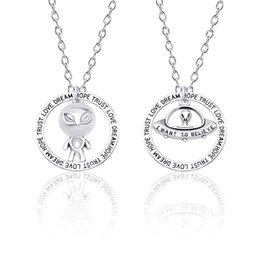 alien charms Coupons - Alien Believe Pendant Silver Charm Alien spacecraft UFO unknown Necklace Chain Jewelry Gift