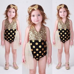 polka dot baby bodysuit Promo Codes - Newborn girls Sequins Polka dots Halter Bodysuits Baby Girl Tulle mesh Bodysuit Jumpsuit playsuit outfit One-pieces