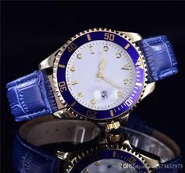 New Famous Luxury Kristall Blau Leder Uhren Weihnachtsgeschenk Für Damen Frauen Kleid Designer Mode Schwarzes Zifferblatt Kalender Herrenuhren von Fabrikanten
