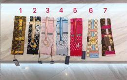 2019 большие банданы оптом 7 цветов новая мода дизайнерский шарф дамы тонкая узкая ручка сумки шелковый шарф двухсторонний печатный саржа атласная марка маленькая лента