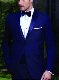 navy shawl suit Coupons - New High Quality Two Buttons Royal Blue Groom Tuxedos Notch Lapel Groomsmen Best Man Wedding Prom Dinner Suits (Jacket+Pants+Bow Tie) 643