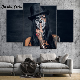 free skull tattoos Promo Codes - Canvas Painting girl skull tattoos 4 Pieces Wall Art Painting Modular Wallpapers Poster Print Home Decor free shipping