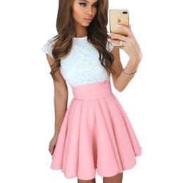 Mini tutu rosa mujer online-Falda de verano de las mujeres ocasionales 2019 Tutu Moda Mini falda Streetwear Faldas Sólido Plisado Rojo Rosa Cintura Alta Faldas cortas mujer
