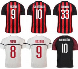 AC Milan Soccer Jersey 18 19 Season 9 HIGUAIN 8 SUSO 5 BONAENTURA 20 ABATE  9 HIGUAIN 7 KALINIC ROMAGNOLI Football Shirt 16ece9407bfd7