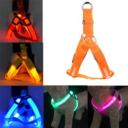 2019 scoppio di collari di cane che barking Nylon Pet Dog LED Harness Chest Strap Lampeggiante Light Harness LED Guinzaglio Corda Cintura Collare Harness Vest Per Cani medio grandi Pet Supplies