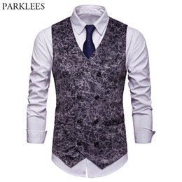 Модный сексуальный жилет онлайн-Fashion Sexy Leopard Print Suede Suit Vest Men 2019  New Slim Double Breasted Dress Vest Waistcoat Men Gilet Costume Homme