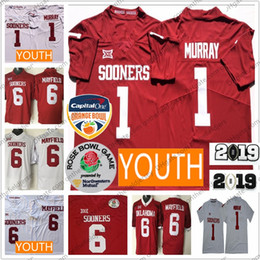 861887279 Mens Youths Oklahoma Sooners  1 Kyler Murray  6 Baker Mayfield Red White  2018 Rose Bowl 2019 Champions Stitched NCAA College Football Jersey