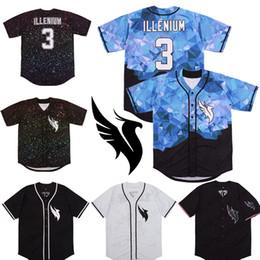 Camiseta de béisbol de costura personalizada online-Costumbre Illenium Jersey cantante # 3 Versión en blanco cosido Negro manera de los hombres de envío Edición Diamante de béisbol jerseys gratuito