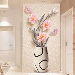 2019 простая ваза для цветов 3D Wallpaper Modern Fashion Simple Flower Vase Photo Wall Murals Living Room Hotel Entrance Backdrop Wall Decor Papel De Parede скидка простая ваза для цветов