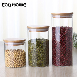 Frascos de vidrio online-450/650/950 ml Tapa de bambú multiusos Frasco hermético Botellas de almacenamiento Frascos Granos Hojas Granos de café Tarro de caramelo