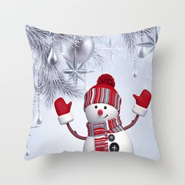 Travesseiro de veludo jacquard on-line-Christmas Pillowcase Peach Velvet Cushion Cover Christmas Snowman Pillow Case Decorative Throw Pillowcase Car Seat Pillow Cover GGA2835