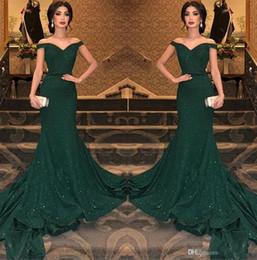 2019 élégantes robes de soirée sirène arabe foncé vert paillettes de l'épaule ruché longueur de parole soir robes de soirée de bal ? partir de fabricateur