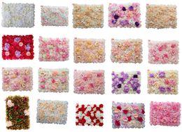 giallo arrangiamenti di fiori di seta Sconti 60x40cm ogni pezzo Pannelli da parete con fiori di peonia e ortensia rosa per centrotavola sullo sfondo di nozze Decorazioni per feste