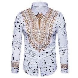 Vestidos de mangas tradicionales online-Camisa de Impresión 3D Hombres 2017 Camisa de Hombre Dashiki Africano Tradicional de manga larga Slim Fit Casual Mens Dress Shirts Camisas Masculinas