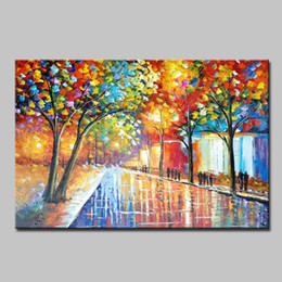 2019 plage d'art moderne abstrait Mintura Art Large Hand Painted Palette Knife Landscape Oil Painting For Living Room Home Decor Wall Art Pictures Canvas Paintings Original