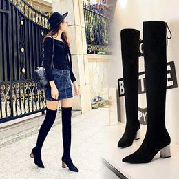 каблуки западного стиля Скидка Западный стиль Высокий каблук через колено сапоги женские бедра сапоги ботинки женщина Botas Mujer Bottine Femme размер 34-49