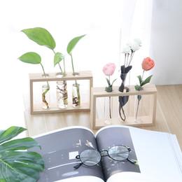 Современная ваза для цветов с деревянной подставкой для настольных стеклянных террариумов для разведения растений гидропоники, украшения домашнего офиса от