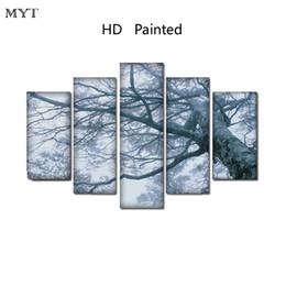 Peintures grands arbres en Ligne-HD Imprimé Peintures Spray imprime image sur Toile Mur Art photos 5 pièces grand paysage de poteau d'arbre Pour Le Salon Home Decor