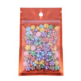 bolsas de papel de aluminio al por mayor Rebajas 12x20cm 100pcs bolsas transparentes / naranja / plata plana frontal translúcido mate cremallera bolsas de mylar de aluminio embalaje reutilizables
