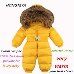 mono de invierno para niños Rebajas Monos de bebé Niños Niñas Trajes de invierno Mamelucos de bebé Mono de pato Abajo Cuello de piel real Niños Prendas de abrigo Niños Snowsuit