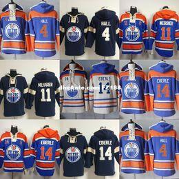 hoodies di qualità a buon mercato Sconti Vendita calda Mens Edmonton Oilers 4 Taylor Hall 11 Mark Messier 14 Eberle Beige Blu Navy Best Quality Cheap Hockey su ghiaccio Hoodies