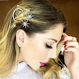 diamante estrellas pelo Rebajas helados Crescent moon star pinzas para el cabello diseñador de lujo bling diamond rhinestone horquillas para el cabello moda mujer accesorios para joyas para el cabello regalo de amigo
