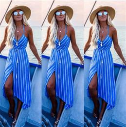 2019 taglie di abbigliamento femminile 2019 Summer Beach Dress Donna vestiti Plus Size Donne striscia Vestito a righe da donna Backless Party Dress Maxi abiti femminili drop ship taglie di abbigliamento femminile economici