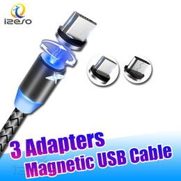 Micro usb magnético on-line-3 em 1 de sucção magnética Cabos Carregador Rápido Cabo Nylon 2A Ímã Cord 1M Android Micro USB Tipo C para Samsung Huawei izeso
