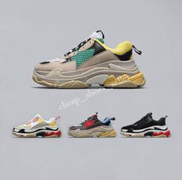 tenis mujeres Rebajas Balenciaga Triple S Sneakers 2019 Hot Runer Shoes Paris 17W Triple-S Sneaker Triple S Casual Luxury Dad Shoes para Hombres Mujeres Blanco Negro Deportes Tenis Zapatillas de running