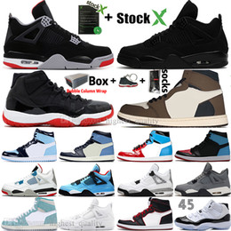 New Black Cat 4 4s White Cement Was die 1 1s Travis Scotts Grau Herren-Basketball-Schuhe UNC 11 11s Concord Männer Sports Designer Sneakers Bred von Fabrikanten