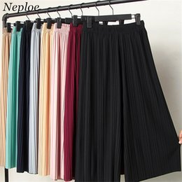 089f66e61f7c Neploe Summer Casual Loose Solid Korean Thin Women Wide Leg Newly Fashion High  Waist Chiffon Pleated Pants 67448 Q190524
