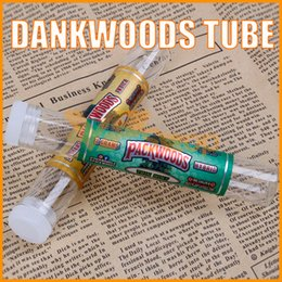 rolled stickers Promo Codes - PACKWOODS Empty Glass Tube Wood Cork Tips DANKWOODS Cartridges Dry Herb Herbal RAW Pre-roll with Flavors Stickers E Cigarette Tubes