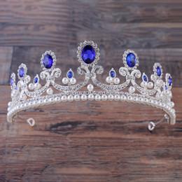 Diadème couronne en Ligne-Baroque Rouge Bleu Blanc Cristal De Couronne Diadèmes De Mariée Or Vintage Accessoires De Cheveux De Mariage De Strass Diadème Pageant Couronnes