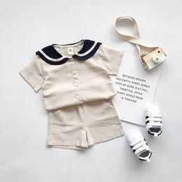 2019 conjuntos de ropa de niños ejército ropa de diseñador para niños niñas Boy Summer sets 100% Cotton girl Army Style Solid Color camiseta + short 80-130cm conjuntos de ropa de niños ejército baratos